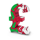 Pound Symbol textured with the Welsh Flag Isolated on White Background