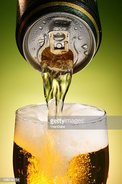 pouring beer with drink can
