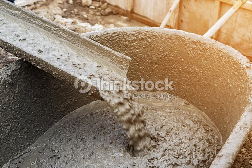 Pouring cement during for construction with with vintage tone. : Stock Photo