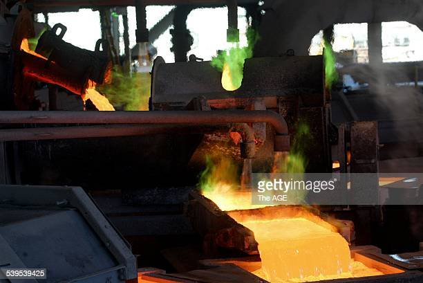 Pouring copper anodes at the Olympic Dam Mine in South Australia The Mine belonging to Western Mining Corp produces uranium silver gold and copper 12...