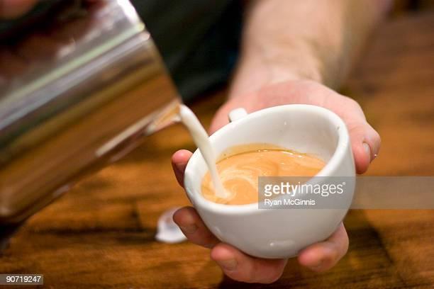 Pouring Milk for Latte Art