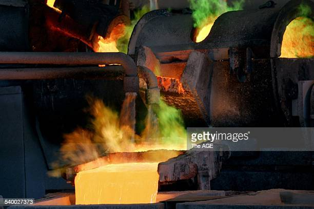 Pouring molten copper anodes at the Olympic Dam Mine in South Australia 22 November 2004 THE AGE Picture by MICHAEL CLAYTONJONES
