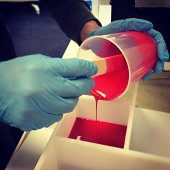 Pouring Red Silicon Molds