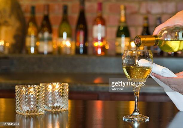 Pouring wine at an elegant restaurant