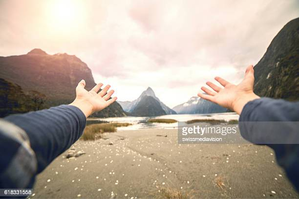 Pov of person embracing nature, freedom concept