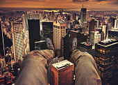 Pov on New York City from the helicopter
