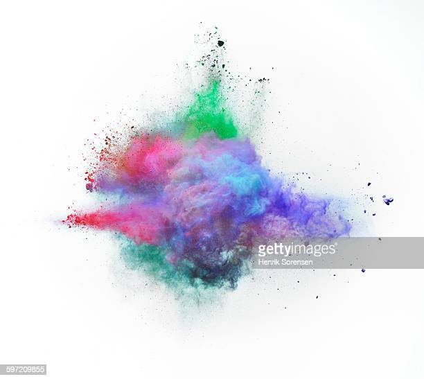 powder explosion on white