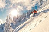 Skier on powder slope.