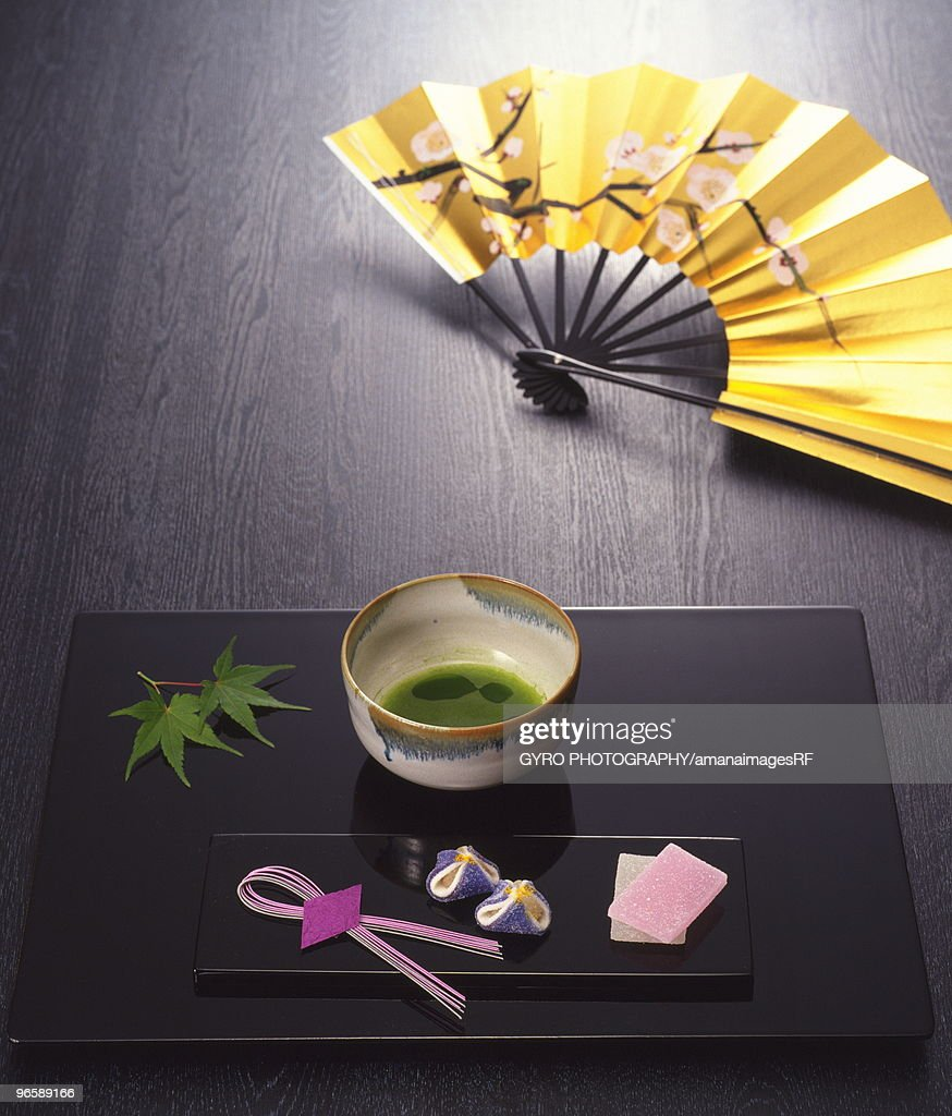 Powdered green tea and Japanese sweets : Stock Photo
