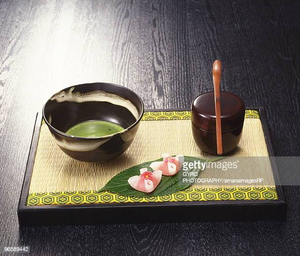 Powdered green tea and Japanese sweets