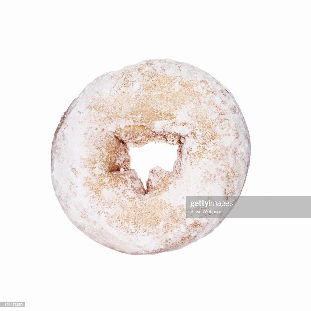 A powdered sugar donut