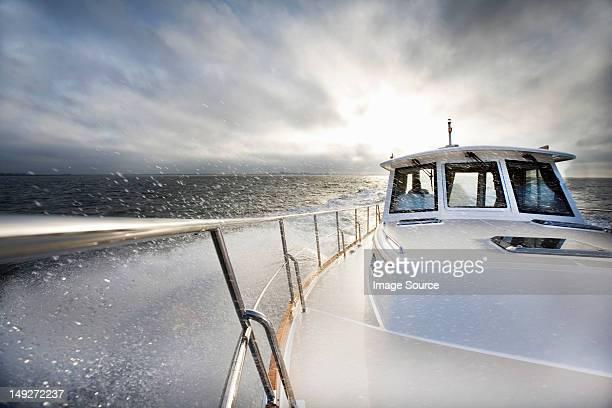 Power boat and ocean spray