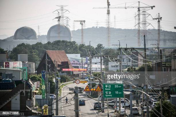 Power cables line a street as the Shin Kori No 3 and 4 nuclear power reactors operated by Korea Hydro Nuclear Power Co a unit of Korea Electric Power...