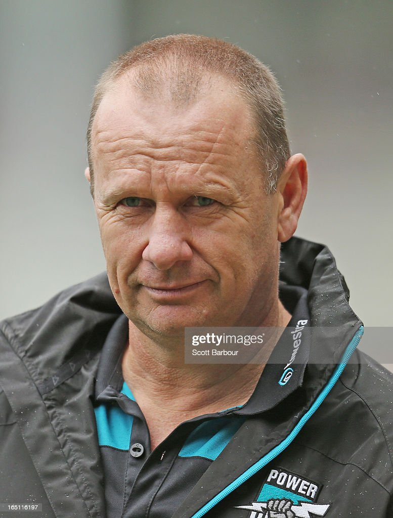 Power coach Ken Hinkley looks on during the round one AFL match between the Melbourne Demons and Port Adelaide Power at the Melbourne Cricket Ground on March 31, 2013 in Melbourne, Australia.