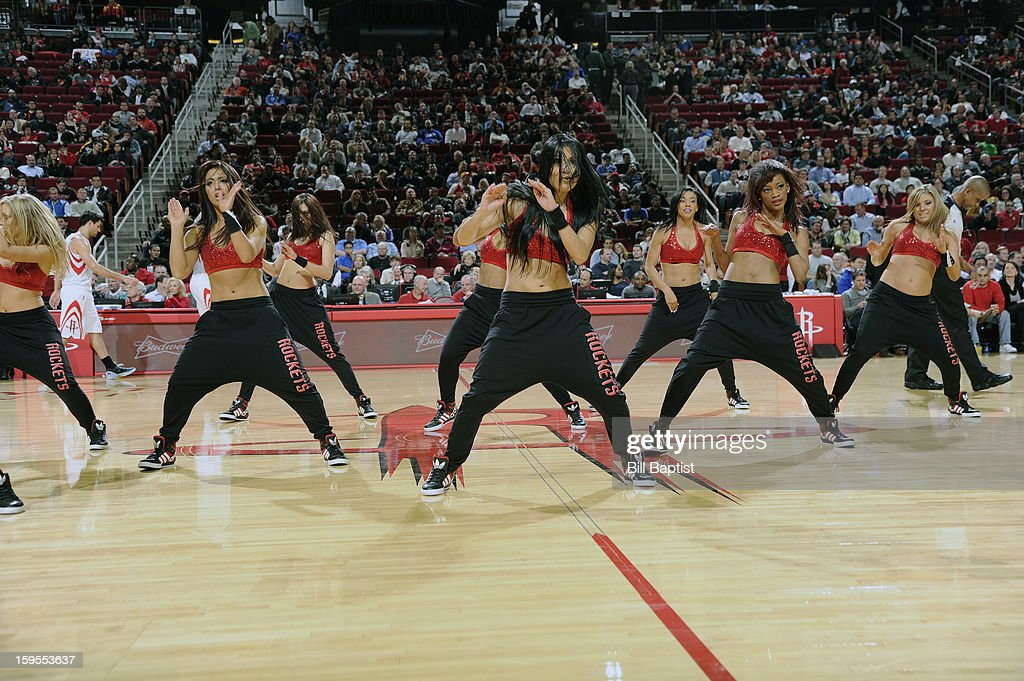 Power Dancers of the Houston Rockets perform during the game against the Los Angeles Clippers on January 15, 2013 at the Toyota Center in Houston, Texas.