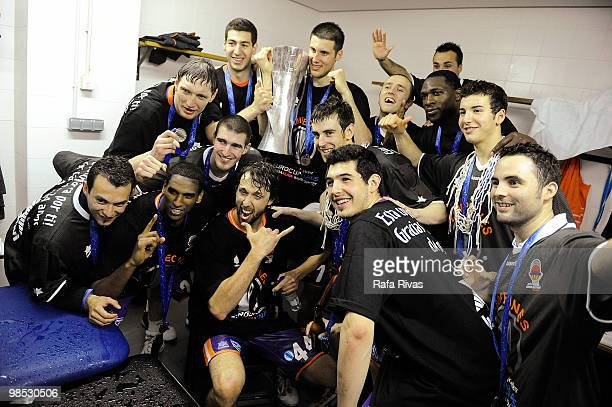 Power electronics Valencia players celebrate at locker rooms their victory after the Champion Award Ceremony at Fernando Buesa Arena on April 18 2010...
