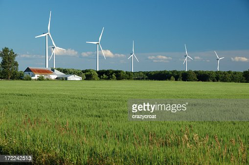 Power generating wind farm in the Ontario countryside