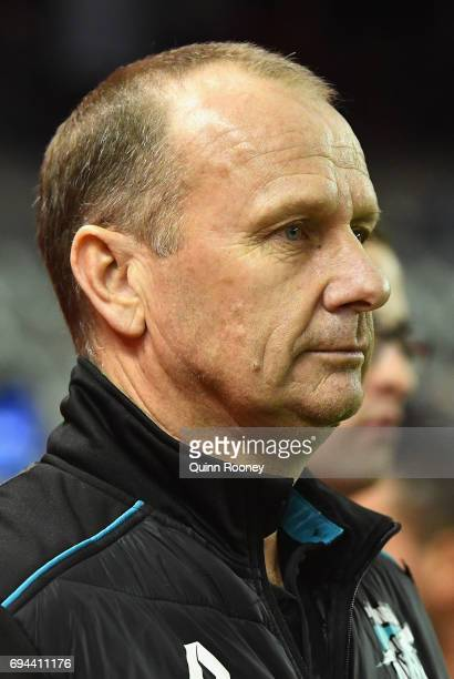Power head coach Ken Hinkley looks on during the round 12 AFL match between the Essendon Bombers and the Port Adelaide Power at Etihad Stadium on...