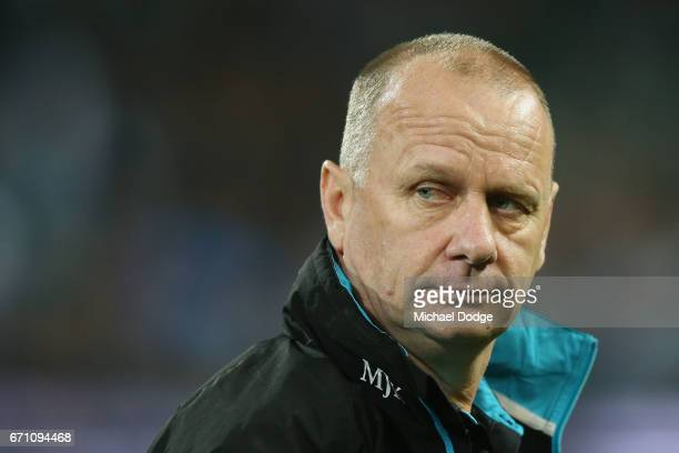 Power head coach Ken Hinkley looks upfield during the round five AFL match between the Port Adelaide Power and thew Carlton Blues at Adelaide Oval on...