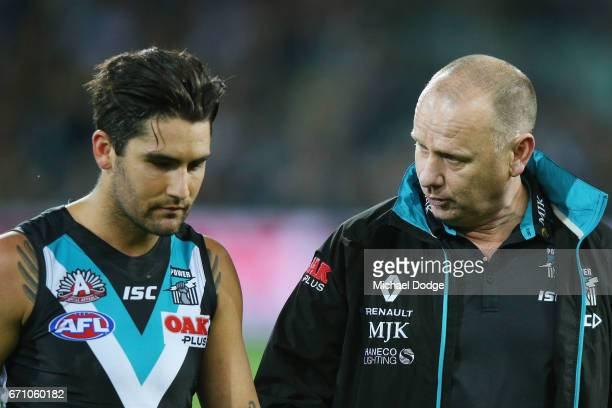 Power head coach Ken Hinkley speaks to Chad Wingard of the Power during the round five AFL match between the Port Adelaide Power and thew Carlton...