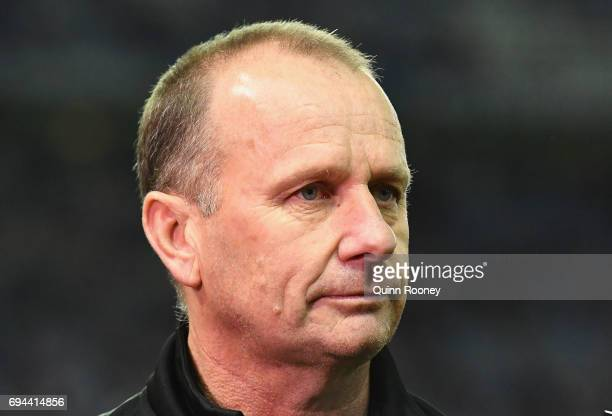 Power head coach Ken Hinkley talks to the media during the round 12 AFL match between the Essendon Bombers and the Port Adelaide Power at Etihad...