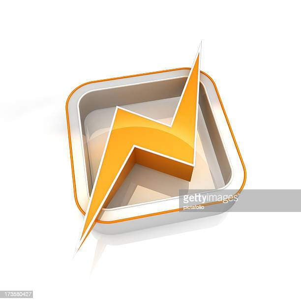 Power icon symbol with yellow lightening bolt
