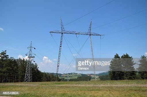 Power line in mountain : Stock Photo