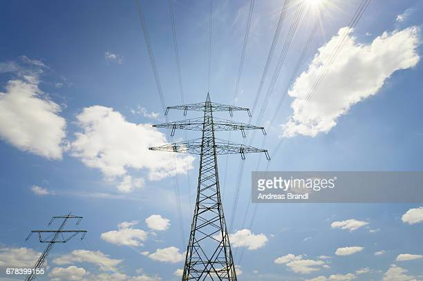 Power lines and electricity pylons, Baden-Wurttemberg, Germany, Europe