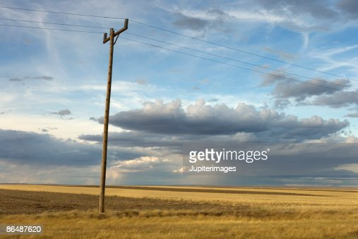 Power lines and rural field, Montana