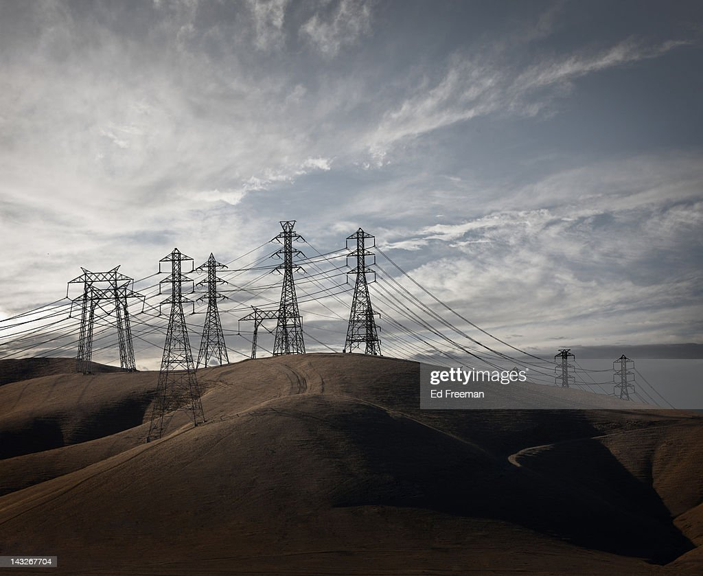 Power Lines in California Hills