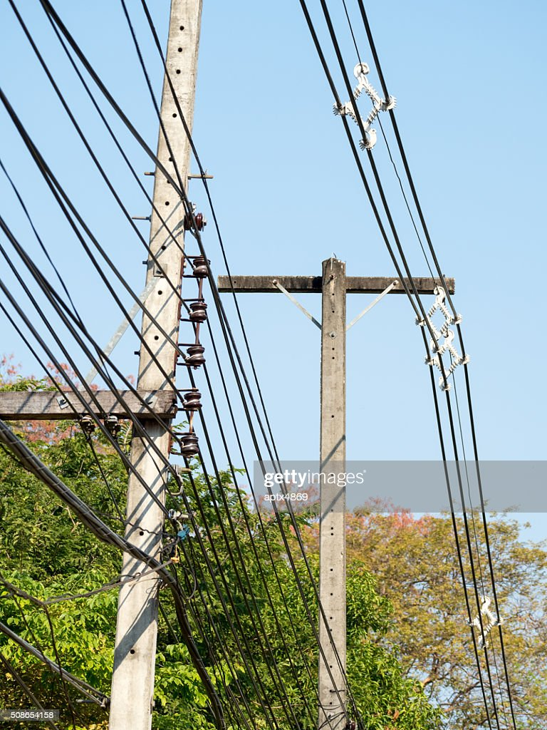 power lines on electric pole : Stock Photo