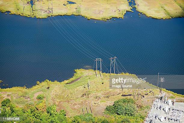 Power lines over water, Newport County, Rhode Island, USA