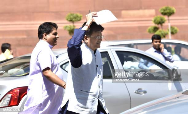 Power Minister Piyush Goel at Parliament during the second leg of Budget Session on April 10 2017 in New Delhi India The Lok Sabha passed the Motor...