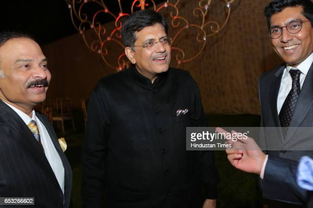 Power Minister Piyush Goyal during wedding reception of Anand Tiwari with Hrishitaa Bhatt on March 10 2017 in New Delhi India Bollywood actress...