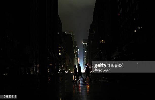 Power outage seen on October 29 2012 in Manhattan New York Hurricane Sandy which threatens 50 million people in the MidAtlantic area of the United...