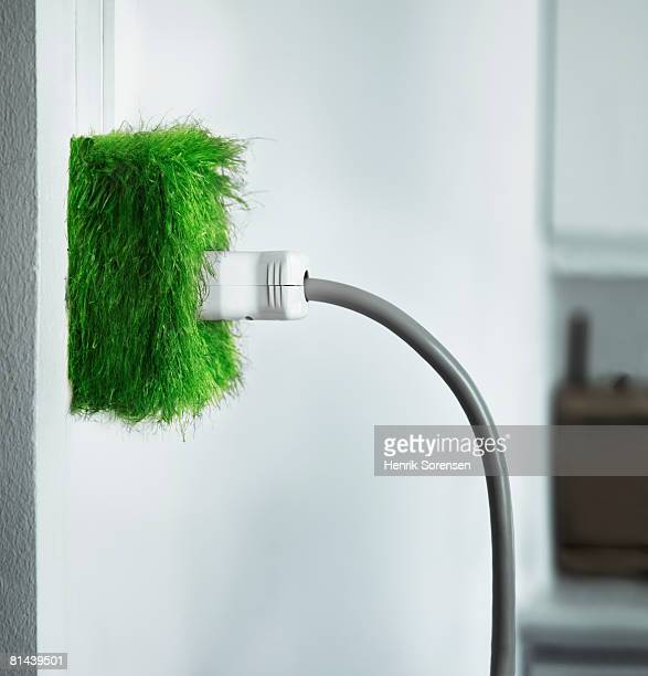Power outlet covered with grass.