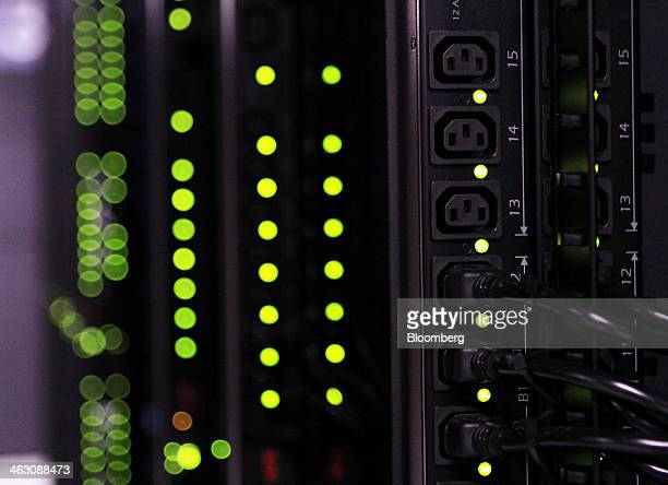 Power outlets are seen on a row of cloud racks for servers and hard drives inside pod one of International Business Machines Corp's Softlayer data...