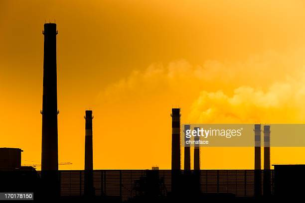 Power plant at sunset