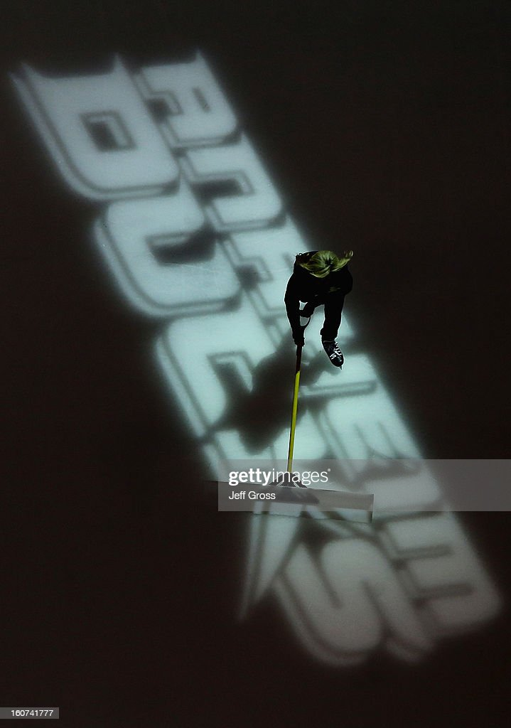 A power player practices sweeping the ice prior to the start of the game between the Anaheim Ducks and the San Jose Sharks at Honda Center on February 4, 2013 in Anaheim, California.