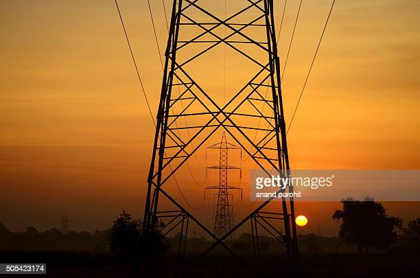 Power poles and power lines in sunrise light, Gujarat, India