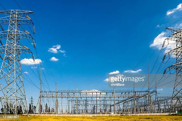 power pylons and substation