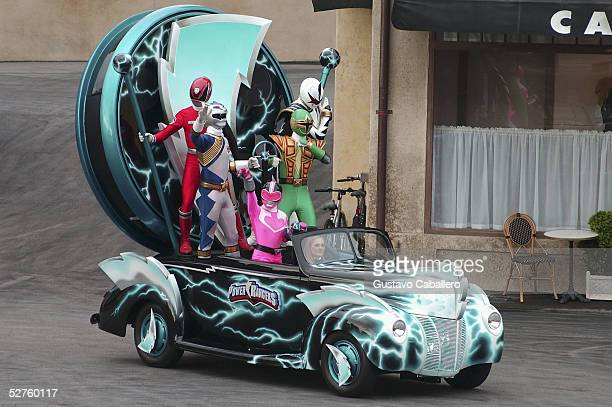 Power Rangers perform at the 'Lights Motors Action' Extreme Stunt Show at Walt Disney World's 'Happiest Celebration On Earth' on May 4 2005 in...