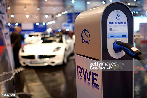 A power station for electric cars is on display at the Essen Motor Show on November 30 2015 at the fair grounds in Essen western Germany The motor...