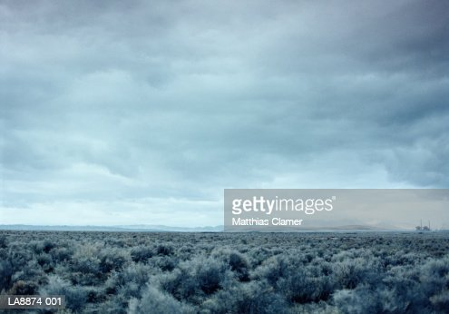 Power station in desert landscape : Stock Photo