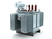 3D illustration of high voltage transformer on white background.