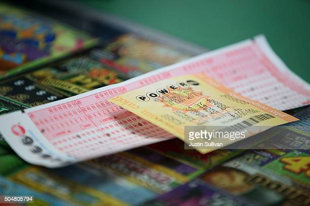 Powerball ticket sits on the counter at Kavanagh Liquors on January 13 2016 in San Lorenzo California Dozens of people lined up outside of Kavanagh...