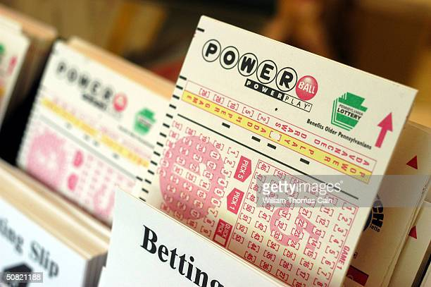Powerball tickets await players at Cumberland Farms convenience store May 10 2004 in Washington Crossing Pennsylvania The winner of the May 8th $213...