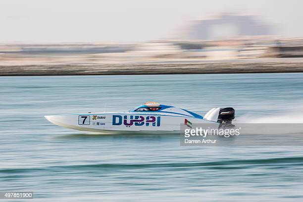 A powerboat drives past during the Fifth round of the UIM XCAT World Series where 14 boats are competing XCAT short for extreme catamaran is one of...