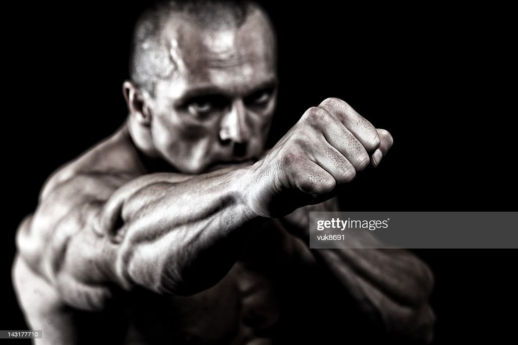 Powerful fighter portrait : Stock Photo