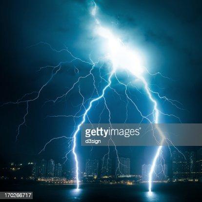 Powerful lightning striking from sky to sea